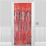 red Shimmer Door Curtain