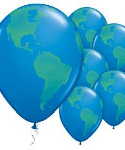Dark Blue Globe Printed Latex Balloons