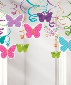 Butterfly Hanging Swirls