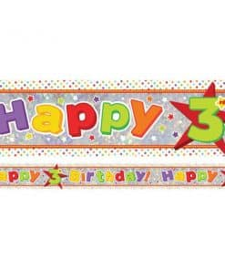 Holographic Happy 3rd Birthday Multi Coloured Foil Banner