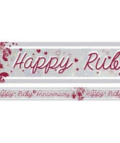 Holographic Ruby Anniversary Foil Banner
