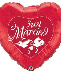 Just Married Red & White Doves Wedding Balloon