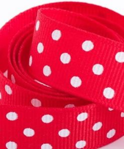 Red Polka Dot Printed Ribbon
