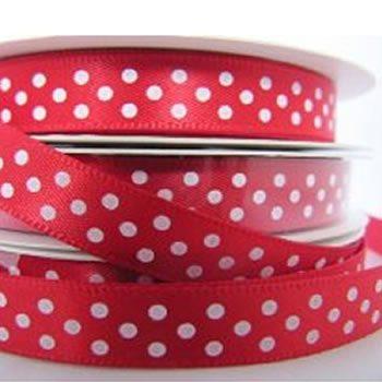 Red Polka Dot Printed Ribbon