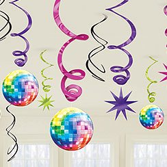 1970s Disco Fever Hanging Swirls Party Decoration - 60cm (Pk 12)