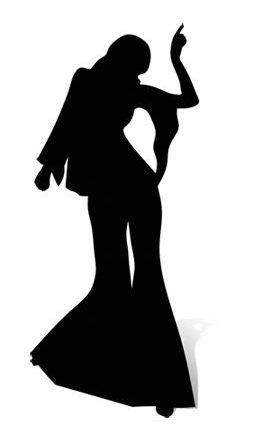 Disco Dancer Silhouette Girl Cardboard Cutout