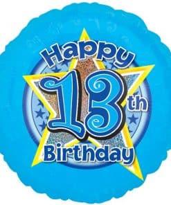 13th Birthday Blue Stars Balloon