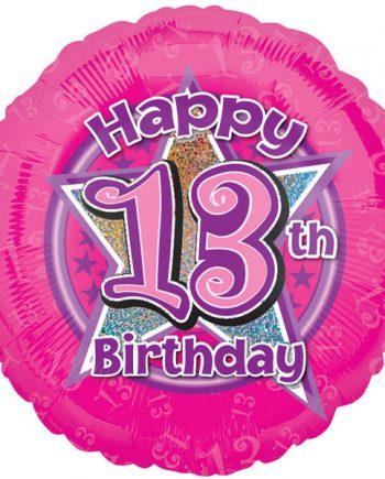 13th Birthday Pink Stars Balloon