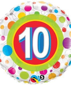 Colourful Dots 10th Birthday Balloon