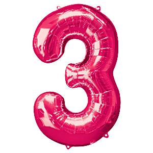 Bright pink number 3 foil balloon fun party supplies for Number 3 decorations