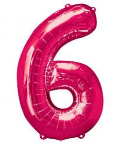 Bright Pink Number 6 Balloon