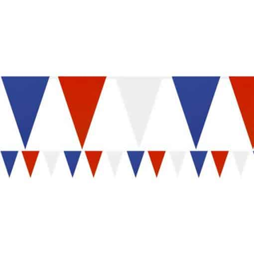 Red, White & Blue Solid Colour Plastic Bunting