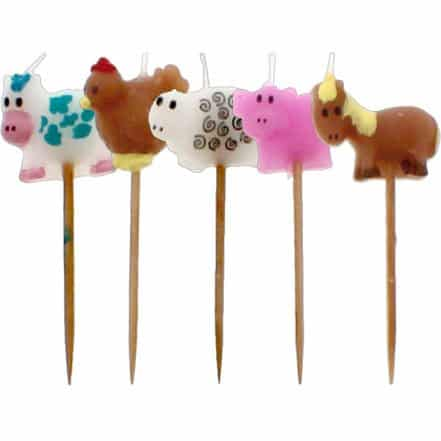 Farm Animal Birthday Cake Candles (Pk 5)