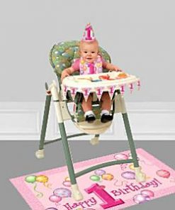 First Birthday Balloons Pink High Chair Decorating Kit