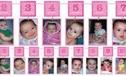 Girl's 1st Birthday Pink Glitter Garland Photo Holder