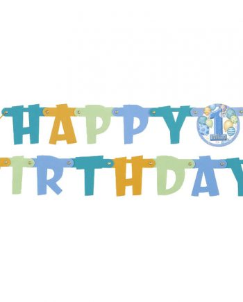 Happy 1st Birthday Blue Jointed Letter Banner