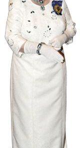 Queen Elizabeth II White Dress with Crown Cardboard cutout