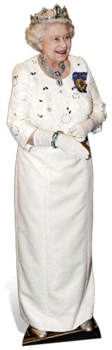 Queen Elizabeth II White Dress with Crown Cardboard cutout