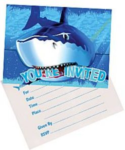 Shark Splash Party Invitation Cards
