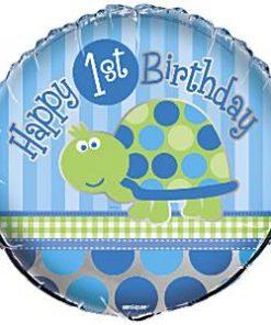 Turtle 1st Birthday Foil Balloon