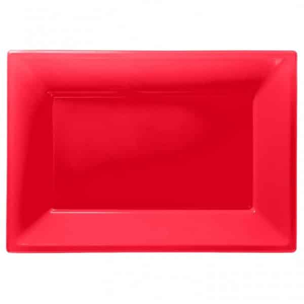 Red Plastic Serving Platters