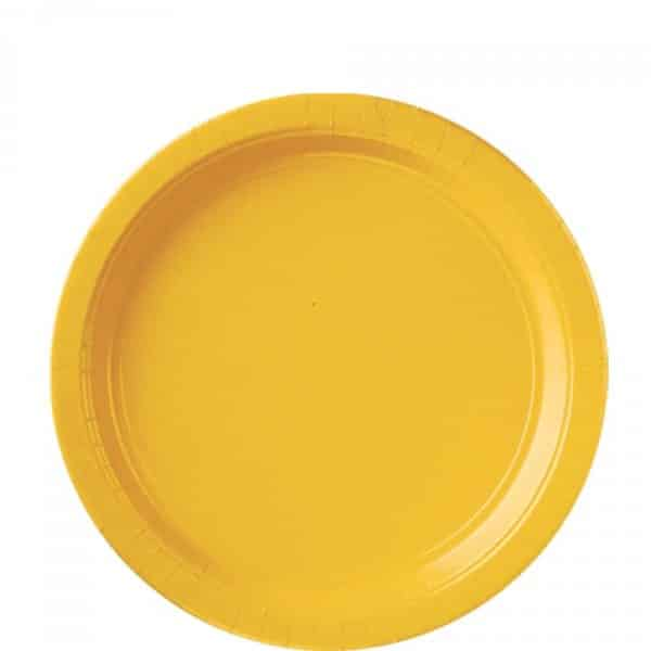 Yellow Party Paper Plates - 22.8cm (Pk 8)