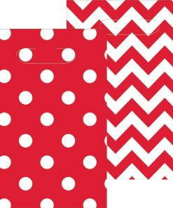 Red Polka Dot & Chevron Party Plastic Loot Bags