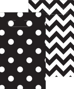 Black Polka Dot & Chevron Party Plastic Loot Bags