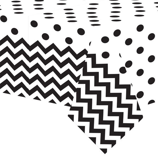 Black Polka Dot & Chevron Party Plastic Tablecover