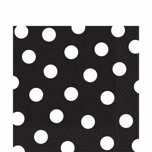 Black Polka Dot Party Paper Napkins