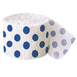 Blue Dot Crepe Paper Streamer
