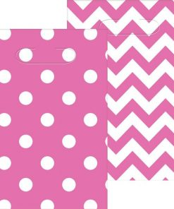 Hot Pink Polka Dot & Chevron Party Plastic Loot Bags