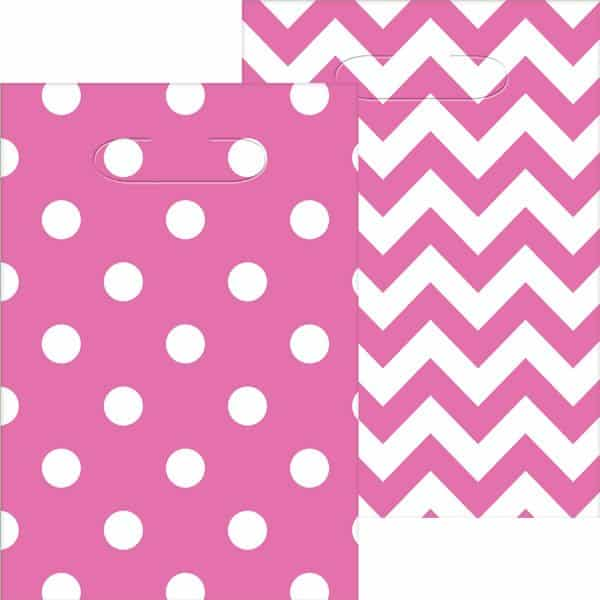 Hot Pink Polka Dot & Chevron Party Plastic Loot Bags