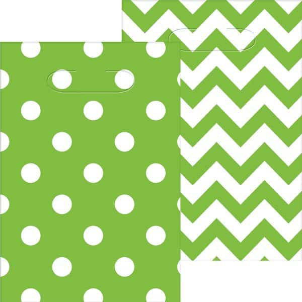 Lime Green Polka Dot & Chevron Party Plastic Loot Bags