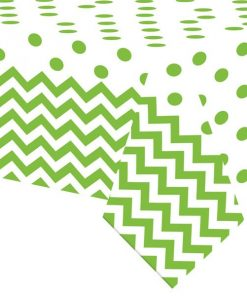 Lime Green Polka Dot & Chevron Party Plastic Tablecover