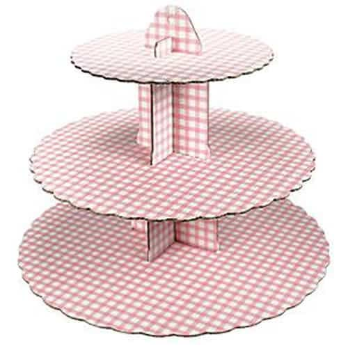 Pink Gingham Cup Cake Stand