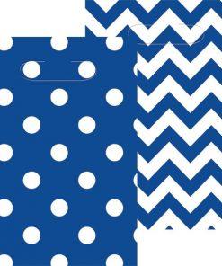 Royal Blue Polka Dot & Chevron Party Plastic Loot Bags
