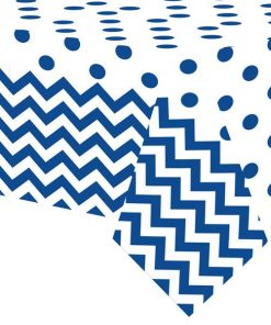 Royal Blue Polka Dot & Chevron Party Plastic Tablecover