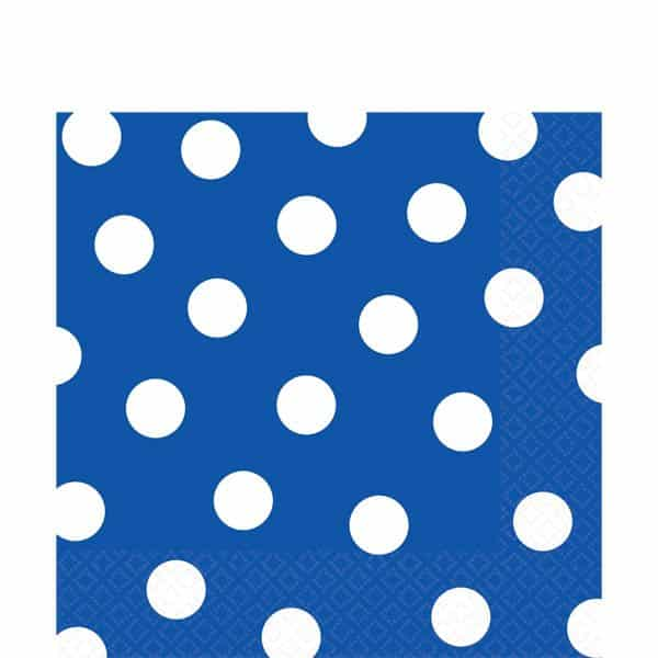 Royal Blue Polka Dot Party Paper Napkins