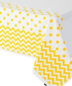 Yellow Polka Dot & Chevron Plastic Tablecover - 1.4m x 2.6m