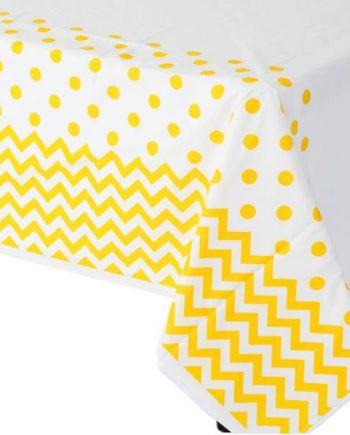 Yellow Polka Dot & Chevron Plastic Tablecover