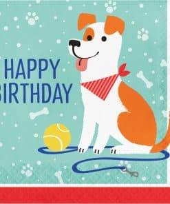 Dog Party Paper Happy Birthday Napkins