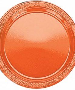 Orange Party Plastic Plates - 23cm (Pk 20)