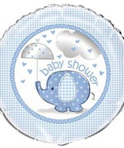 Blue Umbrellaphants Baby Shower Foil Balloon