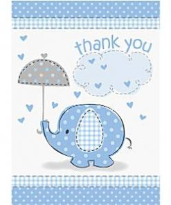 Blue Umbrellaphants Baby Shower Thank You Cards