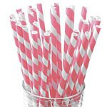 Pink Stripy Paper Straws