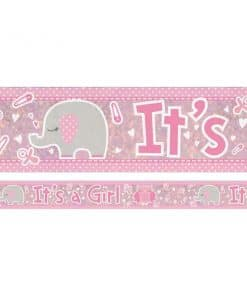 Pink Umbrellaphants Baby Shower 'It's a Girl' Banner