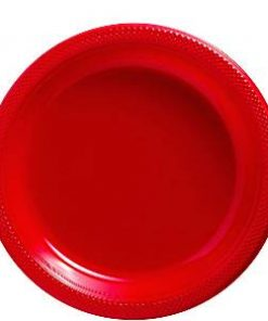Red Plastic Plate 23cm
