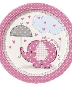Umbrellaphants Pink Party Paper Dessert Plates