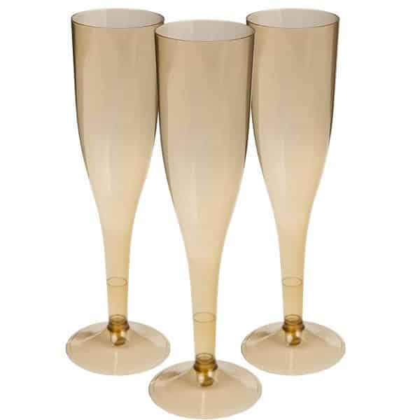 Gold Plastic Champagne Glasses